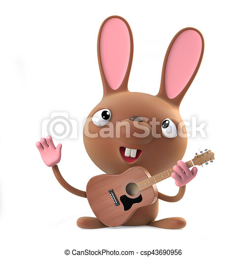 3d Funny cartoon Easter bunny rabbit plays acoustic guitar - csp43690956
