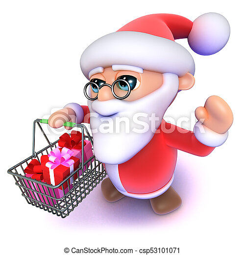 Father Christmas Cartoon Images.3d Funny Cartoon Father Xmas Carrying A Christmas Shopping Basket