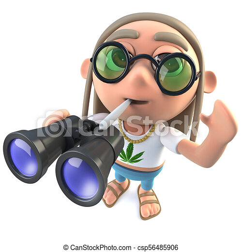 3d Funny Cartoon Hippy Stoner Character Holding A Pair Of Binoculars 3d Render Of A Funny Cartoon Hippy Stoner Character