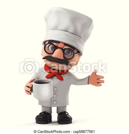 3d Funny cartoon Italian pizza chef character drinking a cup of coffee - csp58877561