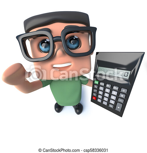 3d Funny cartoon nerd geek character holding a calculator