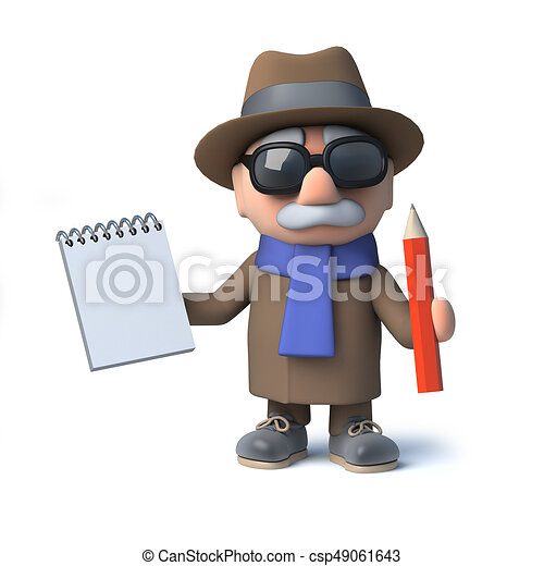 3d funny cartoon old man character takes notes with pad and