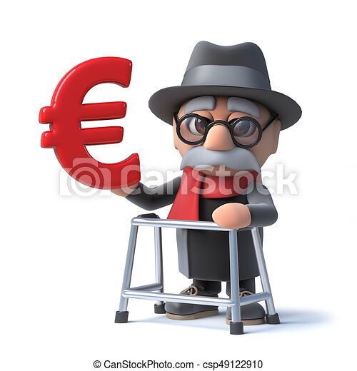 3d Funny Cartoon Old Man With Walking Frame Holding A Euro Currency