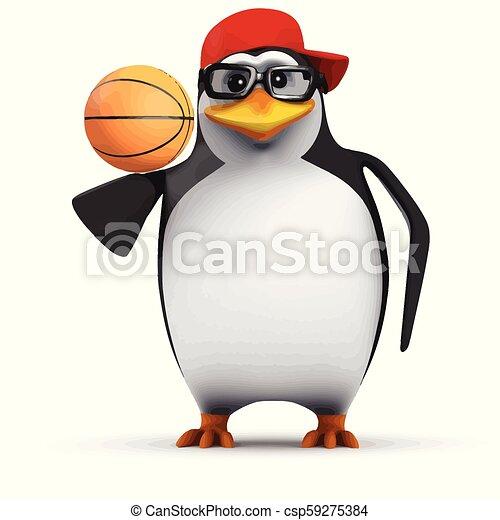 3d Funny Cartoon Penguin In A Baseball Cap Balancing A Basketball On His Wingtip 3d Render Of A Funny Cartoon Penguin In A