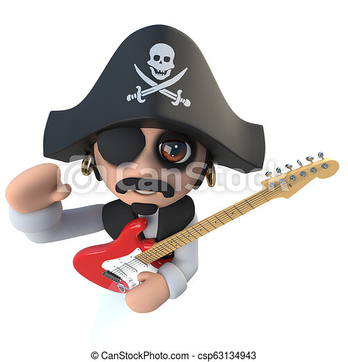 3d Funny cartoon pirate captain character playing an electric guitar