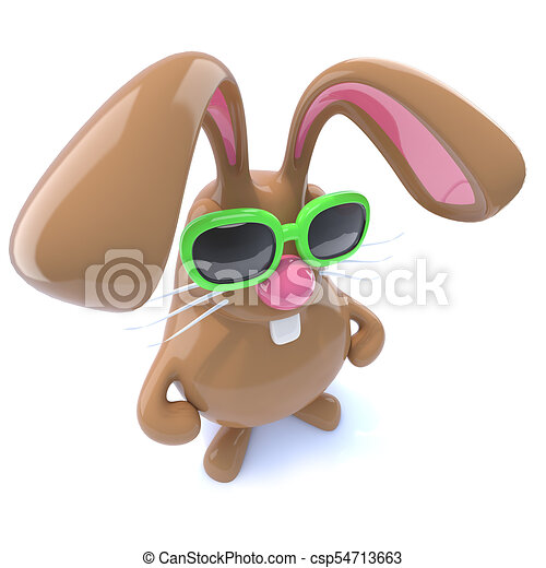 3d Funny chocolate Easter bunny rabbit with hands on hips - csp54713663