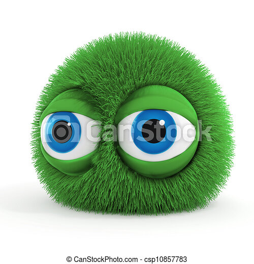 3d funny fluffy creature with big blue eyes - csp10857783