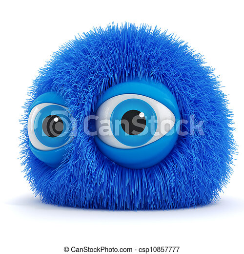 3d funny fluffy creature with big blue eyes - csp10857777