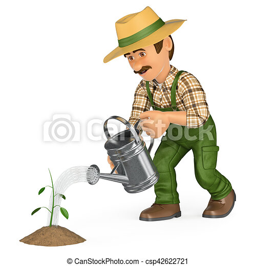 3d gardener watering a small plant. growth concept. 3d ...