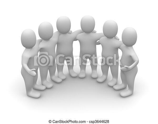 3d, geleistet, gruppe, illustration., friends. - csp3644628