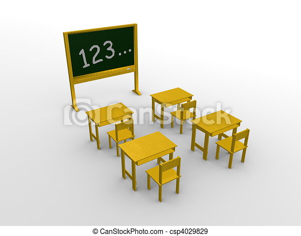 3d generated image, an empty classroom with student table - csp4029829