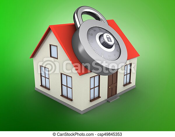 3d Generic House 3d Illustration Of Generic House Over Green Background With Code Lock