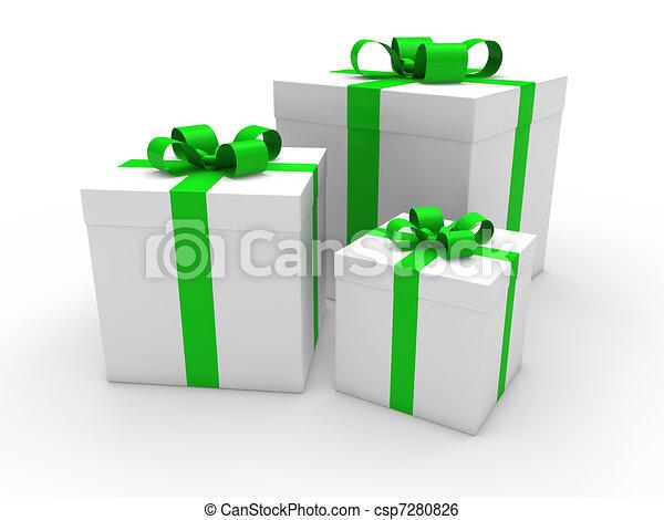 3d Gift Box Green White Christmas Ribbon