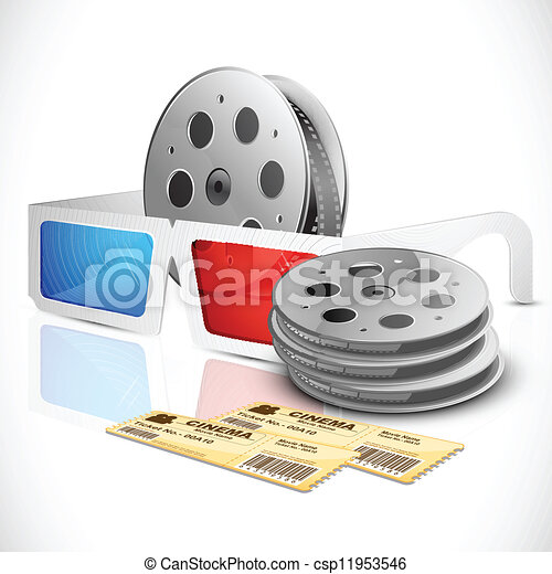 3d Glasses with Movie Ticket and Film reel - csp11953546