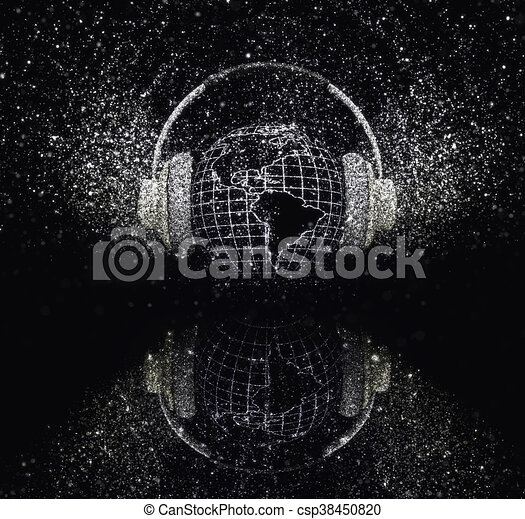 3D glitter globe with headphones - csp38450820