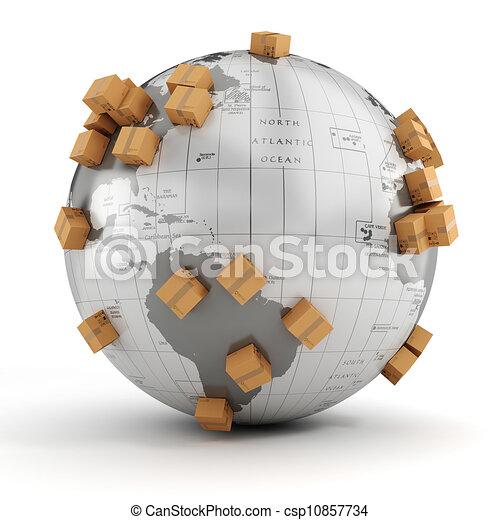 3d global business commerce concept - csp10857734