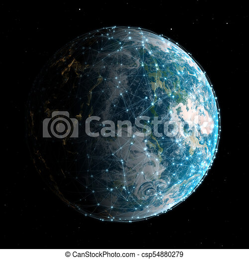 3D global technology and network communications background - csp54880279