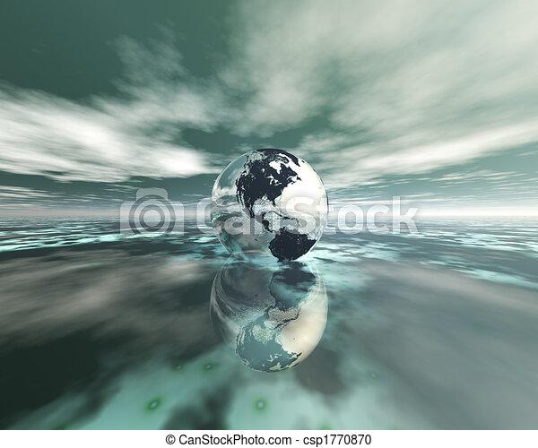 3D globe on water - csp1770870