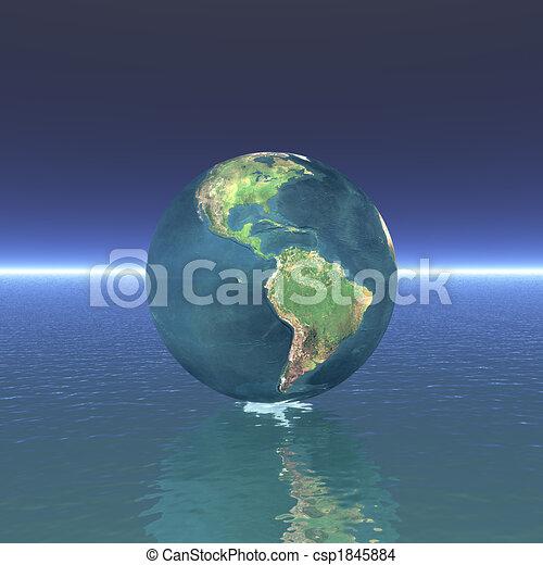 3D globe on water - csp1845884