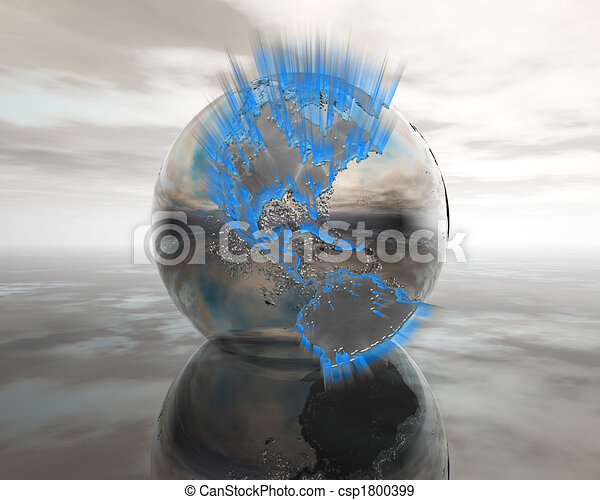 3D globe on water in silver - csp1800399