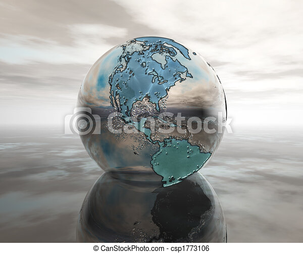 3D globe on water in silver - csp1773106