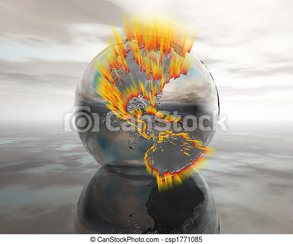 3D globe on water in silver - csp1771085