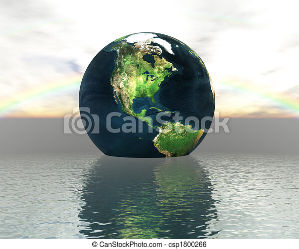3D globe on water with a rainbow - csp1800266