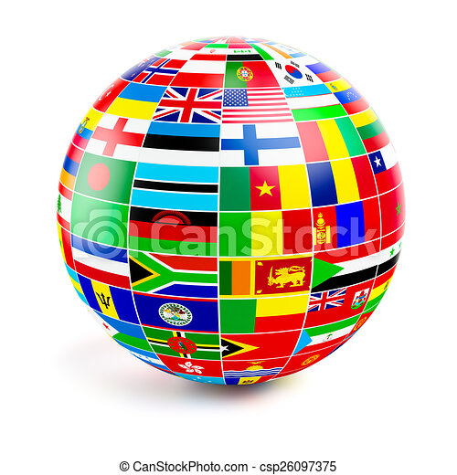 3d globe sphere with flags of the world on white - csp26097375