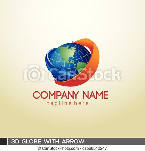 3D Globe with arrow - csp68512247