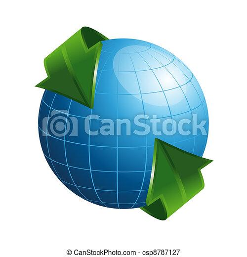 3D Globe with Arrows - csp8787127