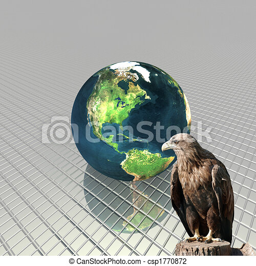 3D globe with eagle - csp1770872