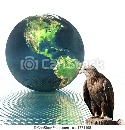 3D globe with eagle - csp1771198