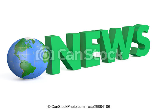 3D globe with green word News - csp26884106