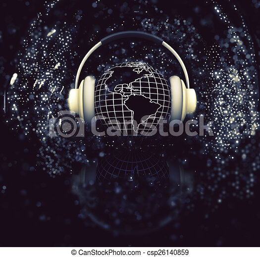 3D globe with headphones - csp26140859