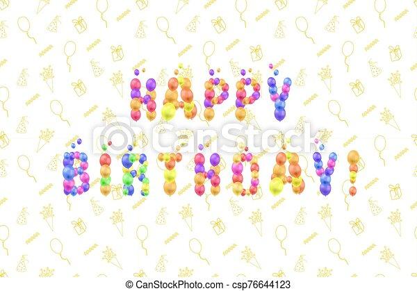 3d, globos, saludo, plantilla, tarjeta, garabato, fiesta., colorido, feliz, ilustración, cumpleaños, vector, fondo, felicitaciones - csp76644123