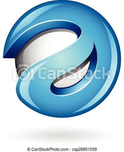 3d Glossy Blue Logo Shape  - csp26801039