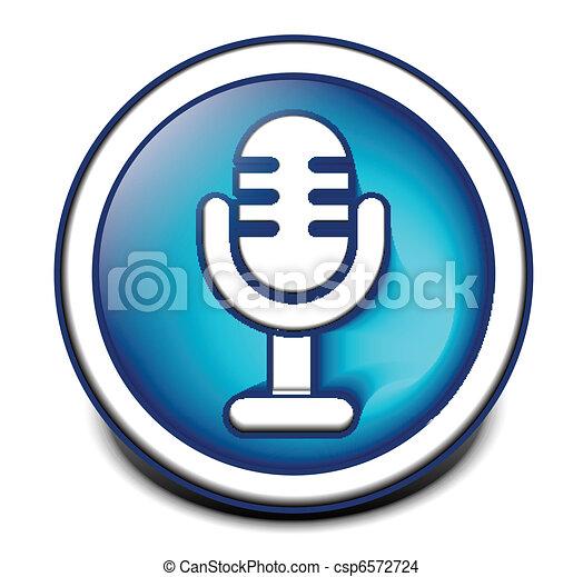 3d glossy mic icon - csp6572724