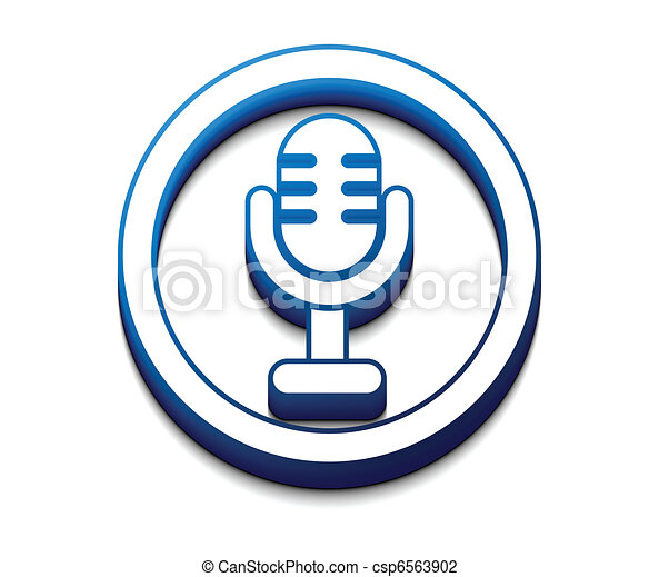 3d glossy mic icon - csp6563902