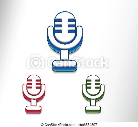 3d glossy mic icon - csp6564507