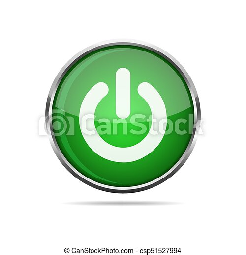 3D glossy POWER button. Vector illustration. - csp51527994