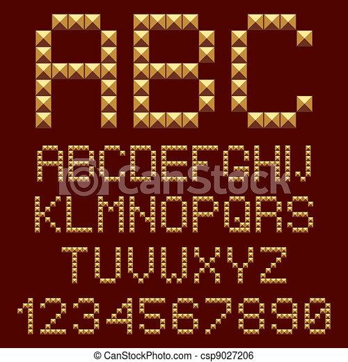 3d gold alphabets letters. - csp9027206