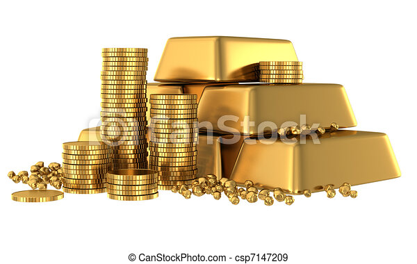 3d gold bars and coins - csp7147209