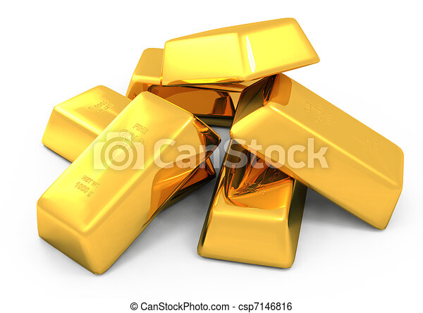 3d gold bars and coins - csp7146816