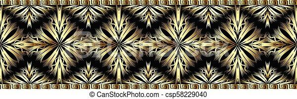 3d gold decorative seamless border pattern. - csp58229040
