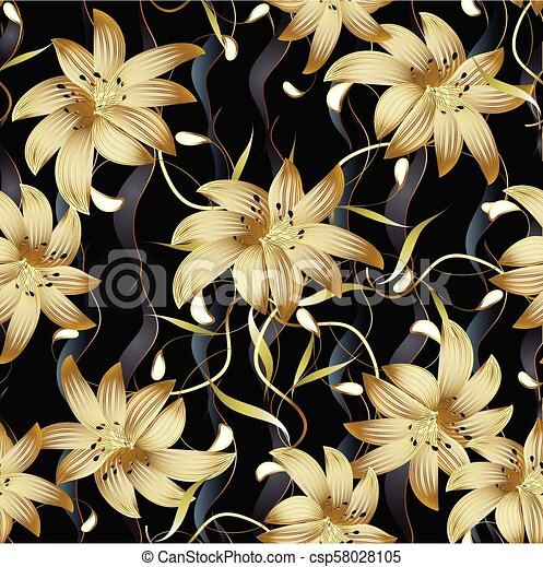 3d Gold Floral Seamless Pattern Abstract Floral Black Vector Ba