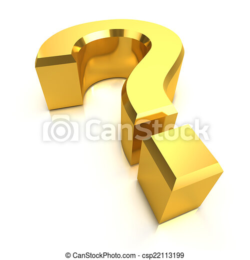 3d Gold question mark - csp22113199