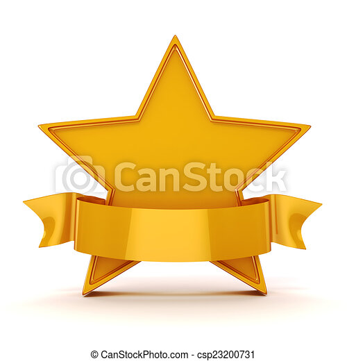 3d gold star on white background