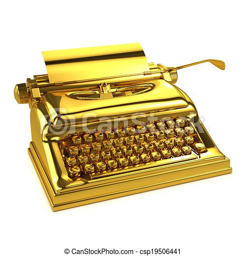 3d Gold typewriter - csp19506441