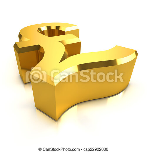 3d Gold Uk Pounds Sterling Currency Symbol 3d Render Of A Gold Uk