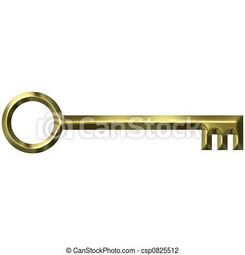 3D Golden Antique Key - csp0825512